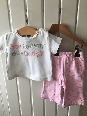 Baby Girl's Clothes 0-3 Mths - 2pc Outfit - Cute Slogan Top And Trousers 🐷🐷🐷