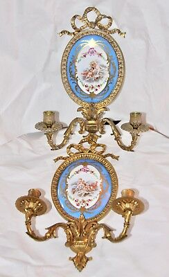 Beautiful Pair Of Bronze And Porcelain Sconces Sevres Style