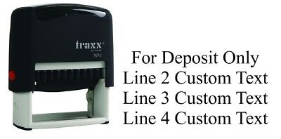 For Deposit Only Traxx 9012 Custom 4 Line / Return Address Self Ink Rubber Stamp