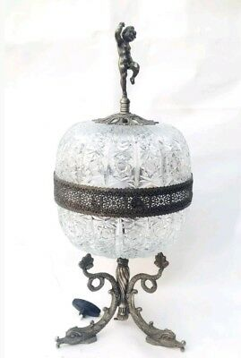 Antique LARGE NeoClassical Table Lamp Cut Crystal Glass Pewter Cupid French 1930