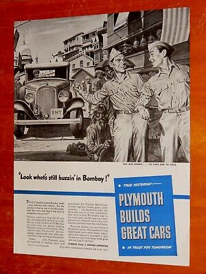 1944 Plymouth Ad With Older 1932 Taxi In Bombay - American Retro Ww Ii Era 1940S