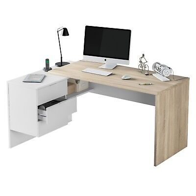 Mesa de escritorio u oficina reversible, Blanco Artik y Roble Canadian, Office
