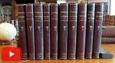 Leather Bindings c. 1900 lot x 10 French gilt stamped Paris dates 1870's Grevill
