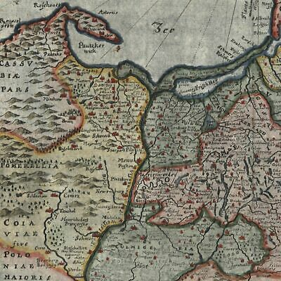 Prussia Baltic Sea Poland Lithuania 1694 fine old hand color map