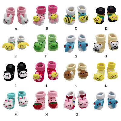 Cartoon Safty Newborn Baby Girls Boys Anti-Slip Soft Cotton Socks Shoes Boots