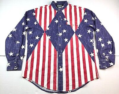 VTG Rough Rider By Circle T Men's American Flag Western Button Up Shirt Size M