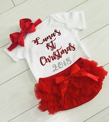 Girls My 1st Christmas Personalised Outfit Tutu Knickers Vest & Bow Photo Shoot