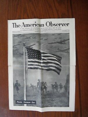 WWII home front The American Observer Dec 7, 1942 Pearl Harbor Day