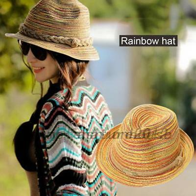 Adult/Child Boho Women Wide Brim Straw Hat Floppy Derby Beach Sun Travel Cap