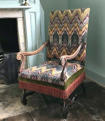 French Walnut Os De Mouton Armchair with Flame Stitch Upholstery
