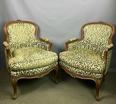 Pair of Antique French Walnut Louis XV Style Bergere Armchairs