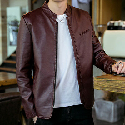 d764dcc48ac Mens Motorcycle Leather Jackets Stand Collar Casual Coat Slim Fit Outwears  Tops