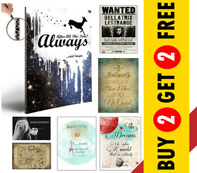 Harry Potter Posters, Film Quote Art Prints, A3 A4 Size Home Decor Gift Him/Her