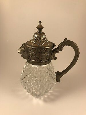 Antique Flint Glass Lions Head Syrup Pitcher Decanter