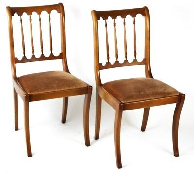 Pair of Regency Yew wood Sabre Leg Dining Chairs - FREE Shipping [PL1866A]