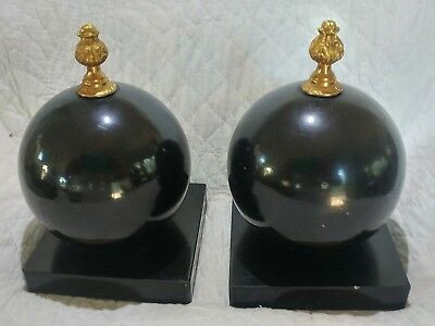 Original Vintage Italian Mid-Century Ornate Black Alabaster Orbs- Round Bookends