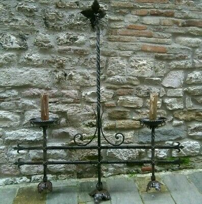 VERY LARGE ANTIQUE SPANISH WROUGHT IRON CHANDELIER GOTHIC REVIVAL 5 light 63x56W
