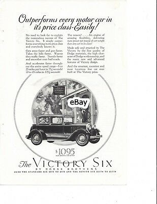 Original Vintage Ad for 1928 Victory Six, produced by Dodge Brothers