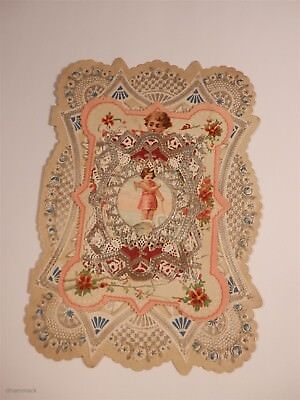 Vintage Victorian Paper Lace Folded Valentines Card - Girl Angel Silver Lace