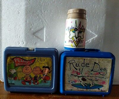Blue Rude Dog 1988 By Aladdin & peanuts University Snoopy thermos lunchbox