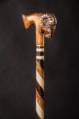 SHEEP CARVED Walking Stick inches Walking cane Wood Cane Hand Carved S2