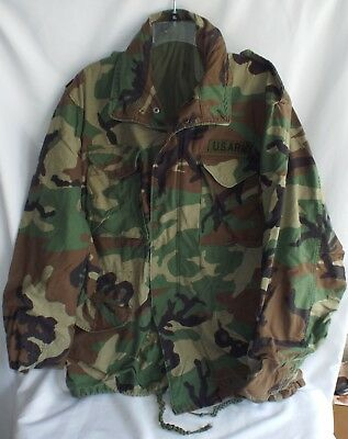 US Military Issue Army Cold Weather Woodland Camo M65 Field Jacket Large Long