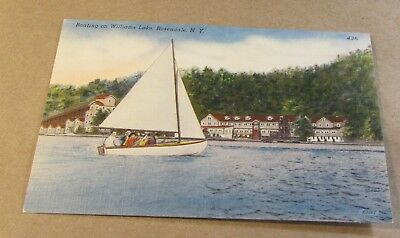 Old Postcard<NEW YORK>{SAILBOAT IN ROSENDALE,NY--WILLIAMS LAKE}