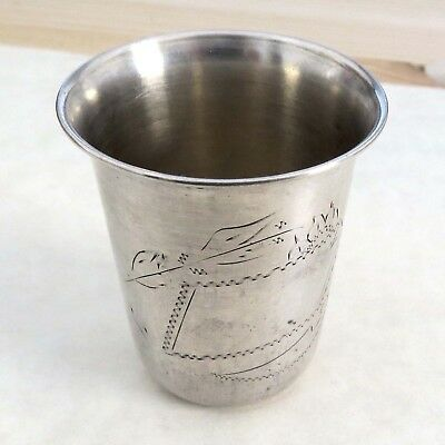 Vintag Antique Wine Kiddush cup silver 833 hand-decorated engravings Judaica