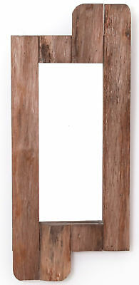 """New Vintiquewise 28"""" High Rustic Natural Barn Wood Framed Wall Mirror"""