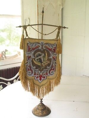 ANTIQUE 19 c. VICTORIAN BEADED ON NEEDLEPOINT HANGING FIRE SCREEN/FACE SHEILD