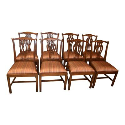 Vintage Ardley Hall Set of Eight Mahogany Chippendale Style Chairs