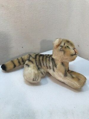 Vtg SMALL Japan Plush Mohair Relaxing Tiger Stuffed Toy ADORABLE! Glass Eyes