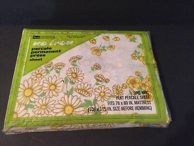 VTG NOS Daisy Dream Garden Floral Print King Flat Percale Sheet Grants