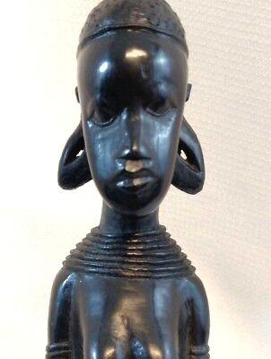 "Vintage 14"" Wood Carved African Tribal woman Art/Home Decor Statue/Figurine (S)"