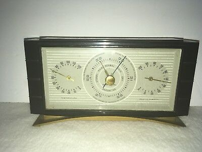 Vintage Airguide Barometer Temperature Humidity Mid Century Weather station (14)