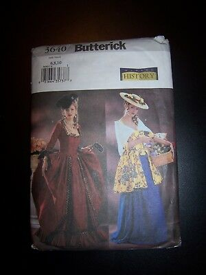 BUTTERICK 3640 SEWING pattern, Colonial historical dress, misses ...