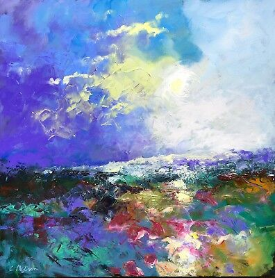 """Edge Of Dusk"" ORIGINAL ABSTRACT LANDSCAPE OIL PAINTING BY CLAIRE MCELVEEN"