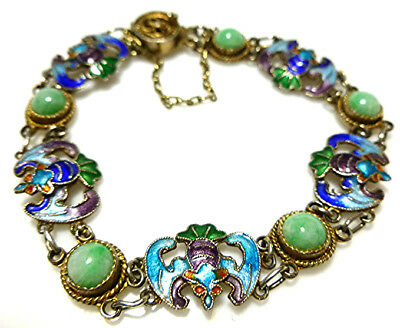 Chinese Export China Sterling Silver Vermail Jade Enamel Old Chain Bracelet