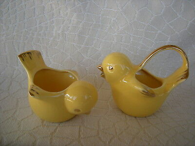 Handcrafted Very Cute 1954 Vallona Starr Yellow Chicks Cream and Sugar Set