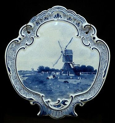 perfect antique porceleyne fles delft wall plaque with windmill 1896