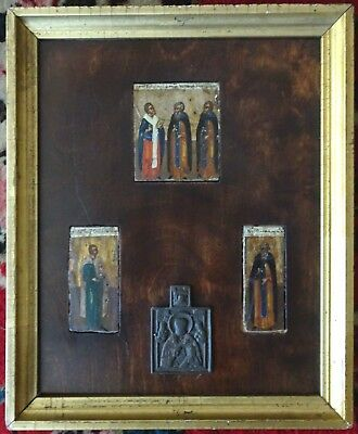 Vintage or Antique Greek Eastern Orthodox Christian Icon Hand Painted Framed