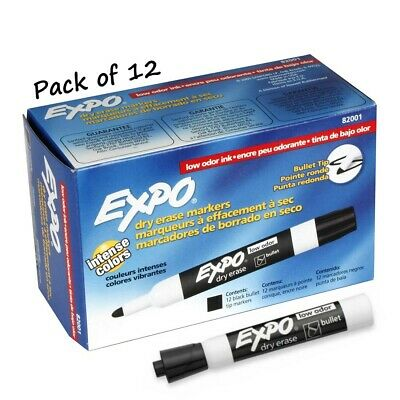 New EXPO 82001 Low-Odor Bullet Tip Dry Erase Black Markers, 12 Count