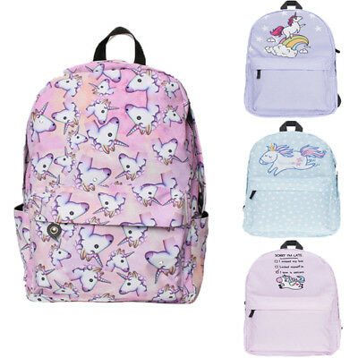 Girls Multi Color Rainbow 3D Unicorn Backpack Student School Bag Travel Rucksack
