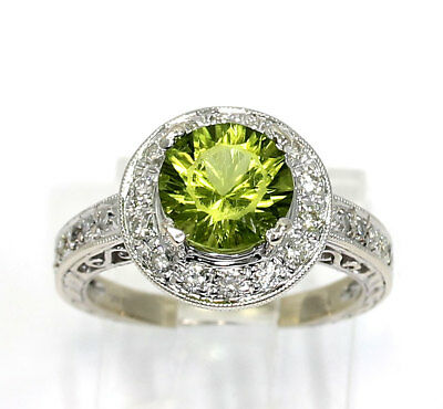 Diamond peridot halo ring 14K white gold round brilliants 2.80CT 5.1 GM sz 5 1/2