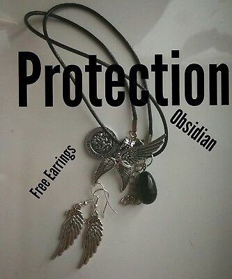 Code 220 PROTECTION Black Obsidian Infused Necklace Archangel Michael Raziel