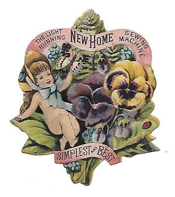 New Home Sewing Machine Die Cut Victorian Trade Card Girl Flowers Butterfly