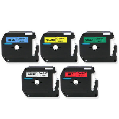 """5PK Label MakerCompatible Brother Label TapeLaminated 1/2"""" MK231 431 531 631 731"""