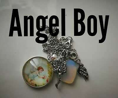 Code 302 Angel Boy Opalite Heart Infused Necklace Miscarriage Pregnancy