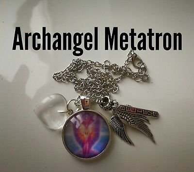 Code 250 Archangel Metatron clear quartz Infused Necklace Wings Feather Believe