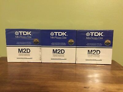 (3) Boxes of 10 TDK M2D Mini Floppy Disks Double Sided Double Density